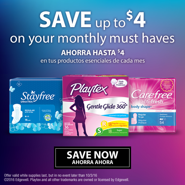 Savings from Carefree, Stayfree, Playtex Gentle Glide